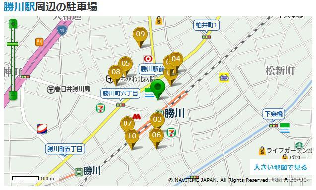 勝川駅周辺駐車場